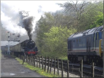 Steam train beginning the climb up to Goathland